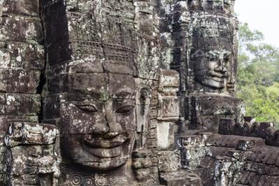Buddha Face Carved in Stone at the Bayon Temple, Angkor Thom, Angkor, Cambodia