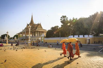 Buddhist Monks at a Square in Front of the Royal Palace, Phnom Penh, Cambodia, Indochina