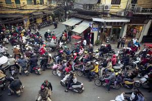 Busy Traffic in the Old Quarter, Hanoi, Vietnam, Indochina, Southeast Asia, Asia by Yadid Levy