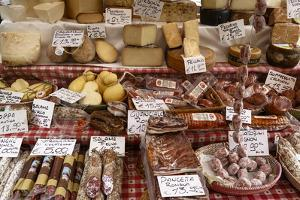 Cheese and Salamis at Papiniano Market, Milan, Lombardy, Italy, Europe by Yadid Levy
