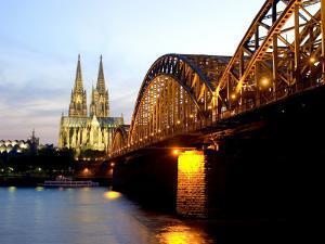 Cologne Cathedral and Hohenzollern Bridge at Night, Cologne, North Rhine Westphalia, Germany by Yadid Levy