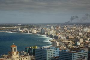 Elevated View over the City and the Malecon Waterfront, Havana, Cuba, West Indies, Caribbean by Yadid Levy