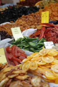 Food on a Stall in Shuk Hacarmel Market, Tel Aviv, Israel, Middle East by Yadid Levy