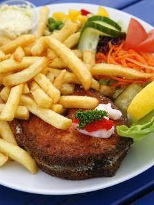 Fried Laks with Chips, Jutland, Denmark, Scandinavia, Europe by Yadid Levy