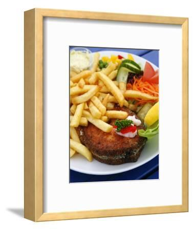 Fried Laks with Chips, Jutland, Denmark, Scandinavia, Europe