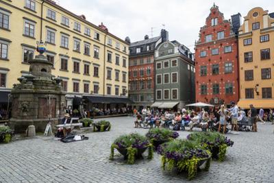 People Sitting at Stortorget Square in Gamla Stan, Stockholm, Sweden, Scandinavia, Europe
