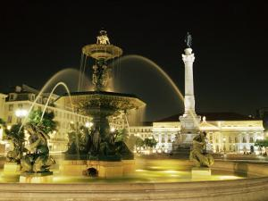 Rossio Square (Dom Pedro Iv Square) at Night, Lisbon, Portugal, Europe by Yadid Levy
