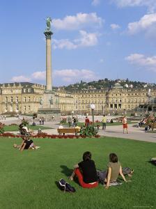 Schlossplatz, King Wilhelm Jubilee Column, Neues Schloss, Stuttgart, Baden Wurttemberg, Germany by Yadid Levy