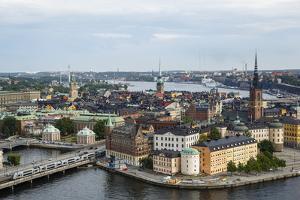 Skyline View over Gamla Stan, Riddarholmen and Riddarfjarden, Stockholm, Sweden by Yadid Levy