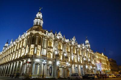 The Gran Teatro (Grand Theater) Illuminated at Night, Havana, Cuba, West Indies, Caribbean