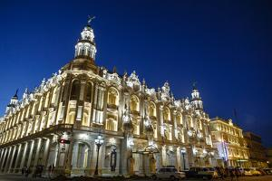 The Gran Teatro (Grand Theater) Illuminated at Night, Havana, Cuba, West Indies, Caribbean by Yadid Levy
