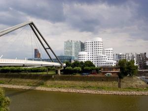 The Neuer Zollhof Buildings by Frank Gehry at the Medienhafen, Dusseldorf, North Rhine Westphalia by Yadid Levy