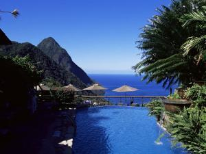 The Pool at the Ladera Resort Overlooking the Pitons, St. Lucia, Windward Islands by Yadid Levy