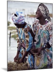 Two Smiling Zanzibari Women Working in Seaweed Cultivation, Zanzibar, Tanzania, East Africa, Africa by Yadid Levy