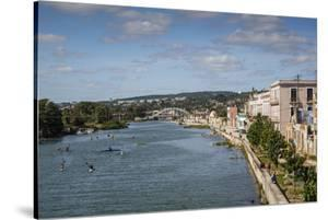 View over People Kayaking in Rio San Juan and the City of Matanzas, Cuba, West Indies by Yadid Levy