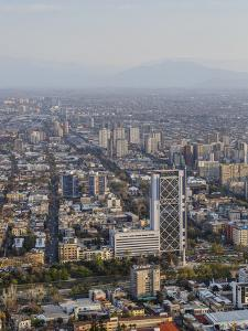 View over Plaza Baquedano and the Telefonica Tower, Cerro San Cristobal, Santiago, Chile by Yadid Levy