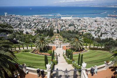 View over the Bahai Gardens, Haifa, Israel, Middle East