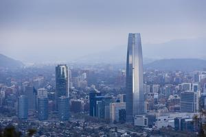 View over the Gran Torre Santiago from Cerro San Cristobal, Santiago, Chile, South America by Yadid Levy