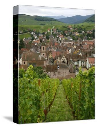 View over the Village of Riquewihr and Vineyards in the Wine Route Area, Alsace, France, Europe