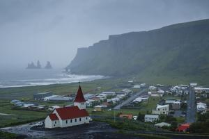 View over the Village of Vik on a Rainy Day, Iceland, Polar Regions by Yadid Levy