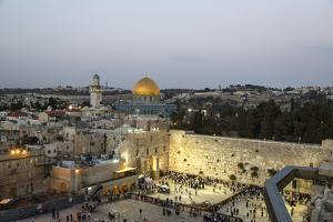 View over the Western Wall (Wailing Wall) and the Dome of the Rock Mosque, Jerusalem, Israel by Yadid Levy