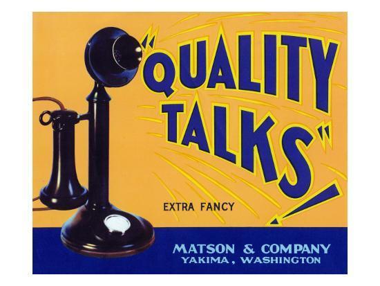 Yakima, Washington, Quality Talks Brand Apple Label-Lantern Press-Art Print