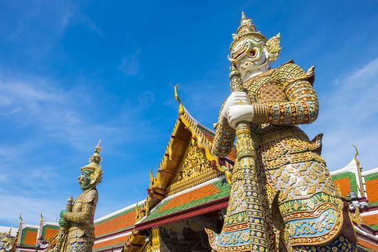 Yaksha Thotsakhirithon Statue in Front of Phra Ubosot, Temple of the Emerald Buddha (Wat Phra Kaew)-Jason Langley-Photographic Print