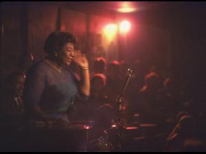 """Jazz Singer Ella Fitzgerald Performing at """"Mr. Kelly's"""" Nightclub by Yale Joel"""