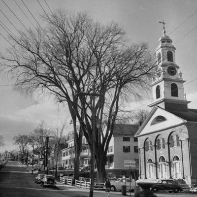Main Street in Small New England Town, Showing Church, Stores, Etc