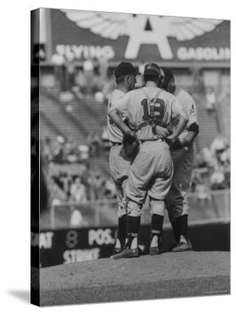 Members of the Cleveland Indians Conferring on the Mound During a Game