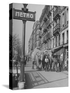 Men Walking the Tamed Elephants Down the Sidewalk by Yale Joel