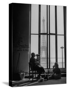 Parisian Cleaning Women Eating Lunch by a Window by Yale Joel