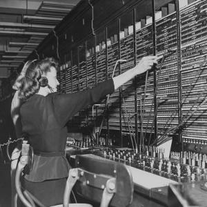 Two Women Operating Switchboard During Chesapeake and Potomac Telephone Strike by Yale Joel