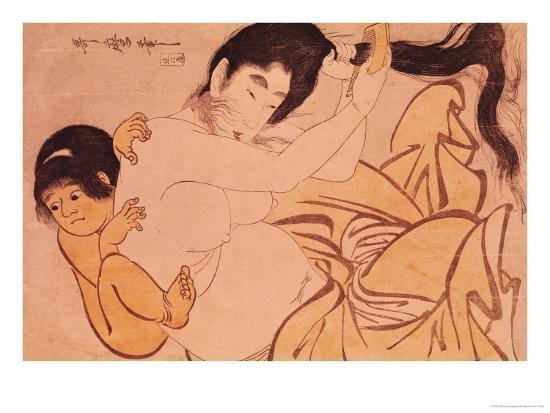 Yama-Uba, the Woman of the Mountain, with Kintoki, Her Baby-Kitagawa Utamaro-Giclee Print