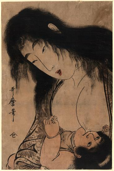Yamauba No Chichi O Suh Kintaro-Kitagawa Utamaro-Giclee Print