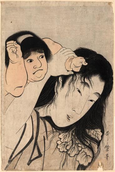 Yamauba No Kami O Tsukamu Kintaro-Kitagawa Utamaro-Giclee Print