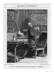 Benjamin Franklin American Statesman Scientist and Philosopher in His Physics Lab at Philadelphia by Yan D'argent
