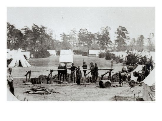 Yankee Headquarters, Camp Whinfield, 3rd May 1862-Mathew Brady-Giclee Print