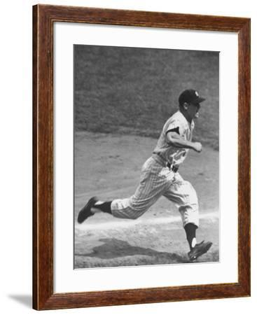 Yankee Mickey Mantle Running for Base During Baseball Game-Ralph Morse-Framed Premium Photographic Print