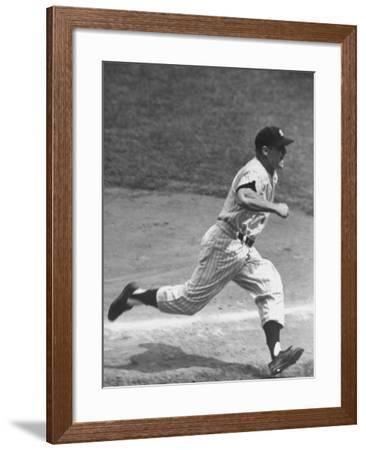 Yankee Mickey Mantle Running for Base During Baseball Game-Ralph Morse-Framed Premium Photographic Print