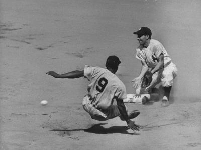 Yankee Phil Rizzuto Waiting to Catch the Ball During the American League Pennant Race-Grey Villet-Premium Photographic Print