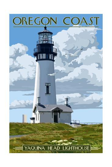 Yaquina Head Lighthouse - Oregon Coast-Lantern Press-Art Print