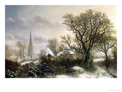 Yardley Church, near Birmingham, in the Snow-Charles Leaver-Giclee Print