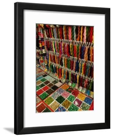 Yarn and Beads are Sold at a Flea Market-Richard Nowitz-Framed Photographic Print