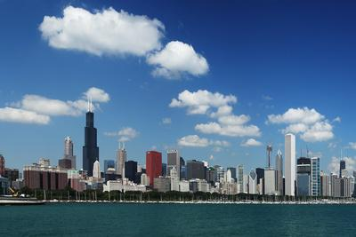 Chicago Daytime Skyline View from the Lake Michigan under Blue Sky. Panoramic View.