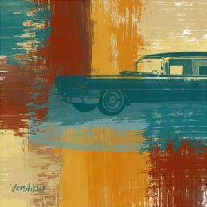 Blue Retro Car by Yashna
