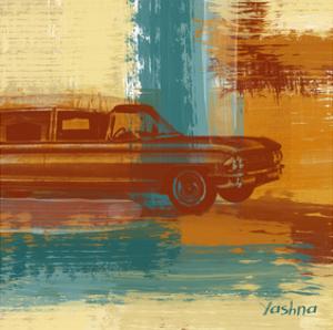 Red Retro Car by Yashna