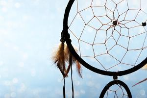 Beautiful Dream Catcher On Blue Background With Lights by Yastremska
