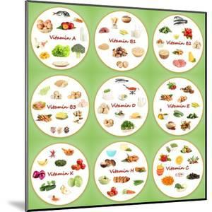 Collage Of Various Food Products Containing Vitamins by Yastremska