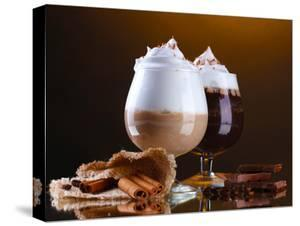 Glasses Of Coffee Cocktail On Brown Background by Yastremska